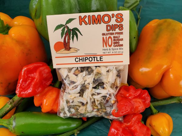 Kimo's Dips Chipotle mix in bed of mixed peppers