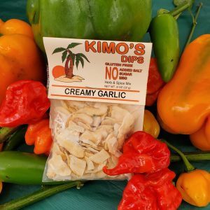 Kimo's Dips Creamy Garlic mix in bed of mixed peppers