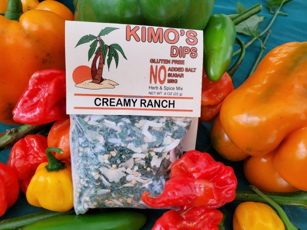 Kimo's Dips Creamy Ranch mix in bed of mixed peppers