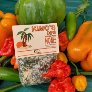 Kimo's Dips Dill mix in bed of mixed peppers