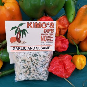 Kimo's Dips Garlic & Sesame mix in bed of mixed peppers