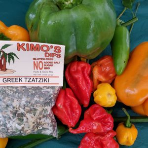 Kimo's Dips Greek Tzatziki mix in bed of mixed peppers