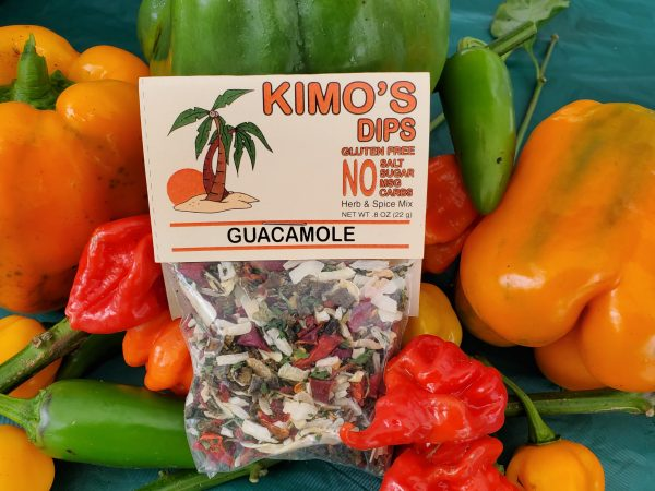 Kimo's Dips Guacamole Mix in bed of mixed peppers