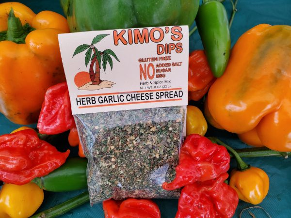 Kimo's Dips Herb Garlic Cheese Spread mix in bed of mixed peppers