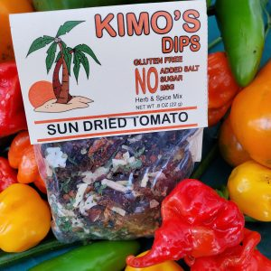 Kimo's Dips Sun Dried Tomato mix in bed of mixed peppers