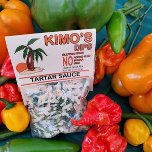 Kimo's Dips Tartar Sauce in bed of mixed peppers