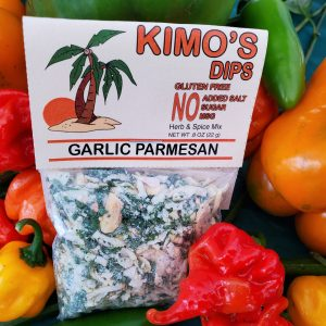 Kimo's Dips Garlic Parmesan mix in bed of mixed peppers