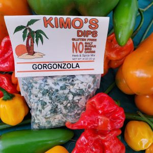 Kimo's Dips Gorgonzola mix in bed of mixed peppers