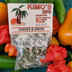 Kimo's Dips Chives & Onion Mix in bed of mixed peppers