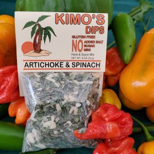 Kimo's Dips Artichoke & Spinach mix in bed of mixed peppers