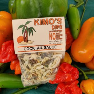 Kimo's Dips Cocktail Sauce mix in bed of mixed peppers